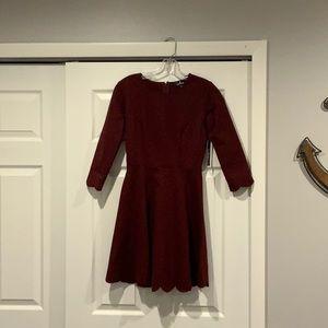 Lulu's Burgundy Skater Dress Size S